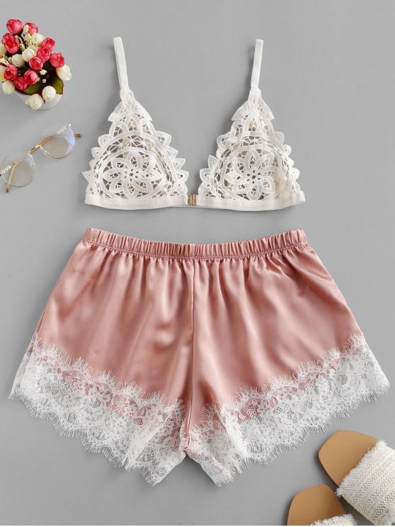Conjunto de pijama con panel de encaje de color sedoso - Rosado L