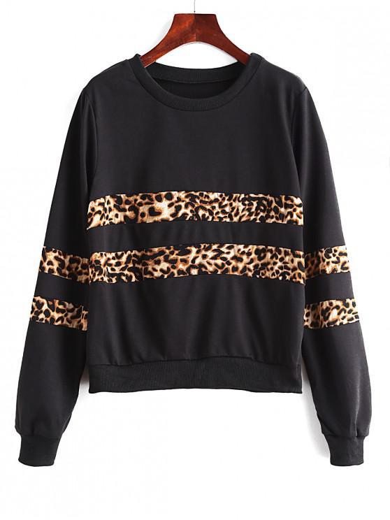 Sweatshirt Animal Panneau Léopard Imprimé à Ourlet Côtelé - Noir S