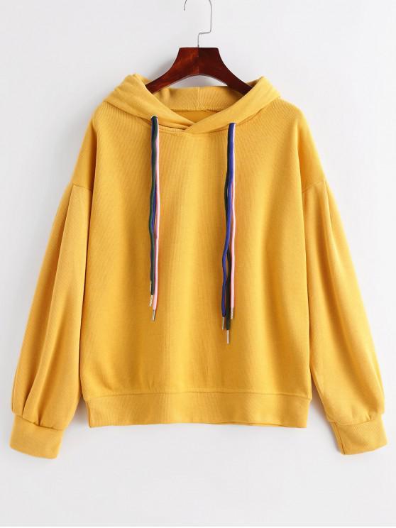 Плечо падения Со шнуровкой Пуловер Вязаная Толстовка - Жёлтый M