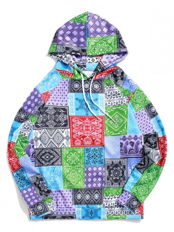 ladies Bandana Tribal Print Casual Kangaroo Pocket Hoodie - MULTI-A 2XL