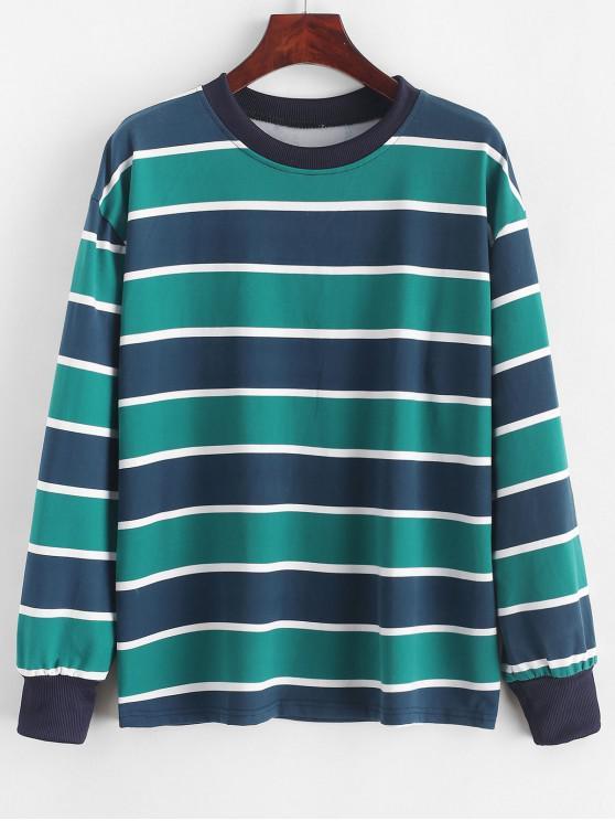 hot Drop Shoulder Pullover Stripes Sweatshirt - SEA TURTLE GREEN M