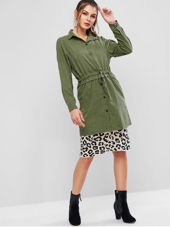 الرباط الخصر زر حتى جيب قميص معطف - التمويه الأخضر M