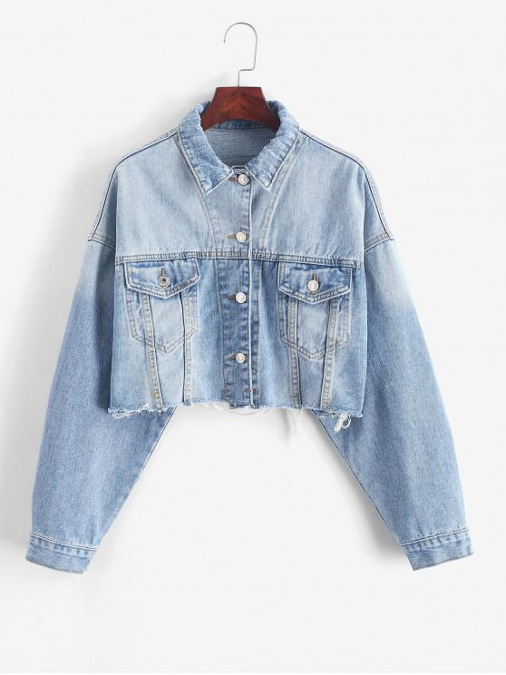 sale Drop Shoulder Raw Cut Pocket Ripped Jean Jacket - DENIM BLUE L