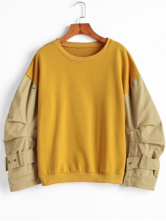 Sweat-shirt Ceinturé à Revers - Jaune L