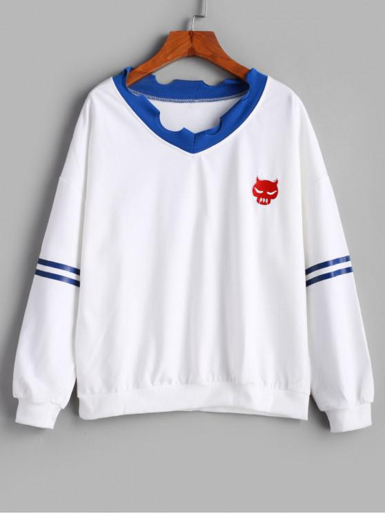 online Stripe Panel Ripped Trim Drop Shoulder Embroidered Sweatshirt - WHITE XL