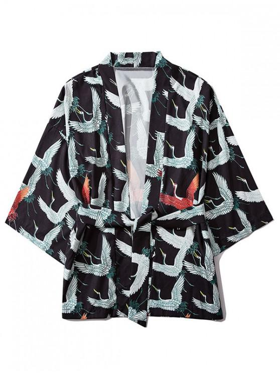 chic Flying Crane Print Casual Open Front Kimono Cardigan - BLACK M
