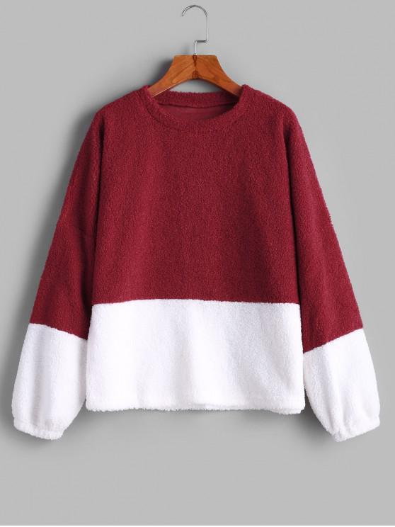 Пуловер Плечо падения Тедди Двухцветная Толстовка - Многоцветный-A L