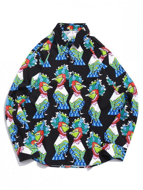 fancy Cartoon Cock Pattern Print Long Sleeve Casual Shirt - BLACK XL