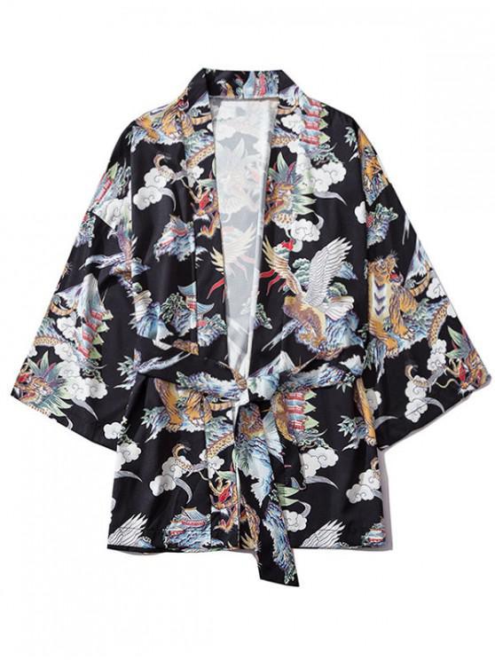 unique Dragon Tiger Eagle Graphic Print Open Front Kimono Cardigan - BLACK L