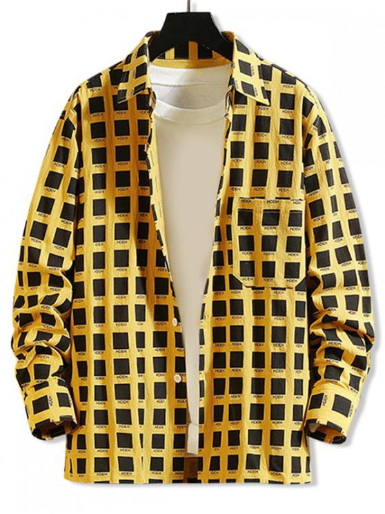 sale Color Block Geometric Letter Graphic Chest Pocket Shirt - YELLOW 3XL