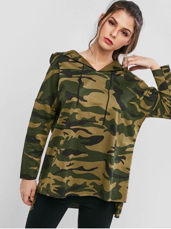 outfits Drawstring High Low Camouflage Longline Hoodie - ACU CAMOUFLAGE L