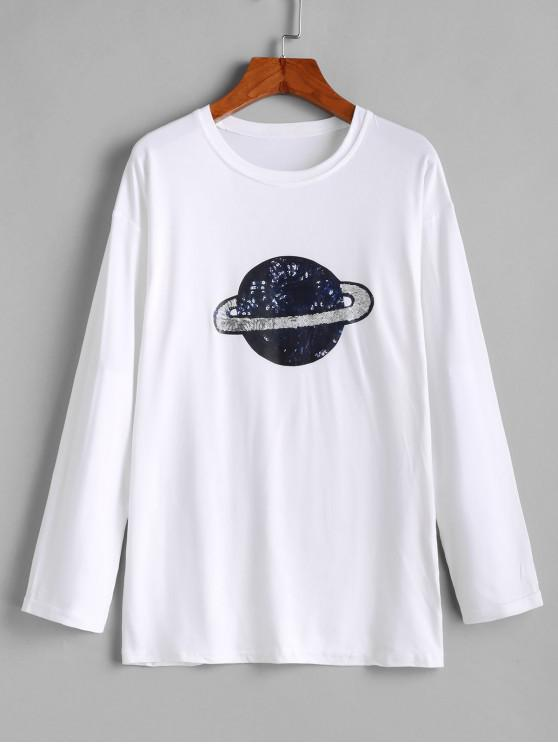 fancy Planet Print Long Sleeve Drop Shoulder Tee - WHITE L