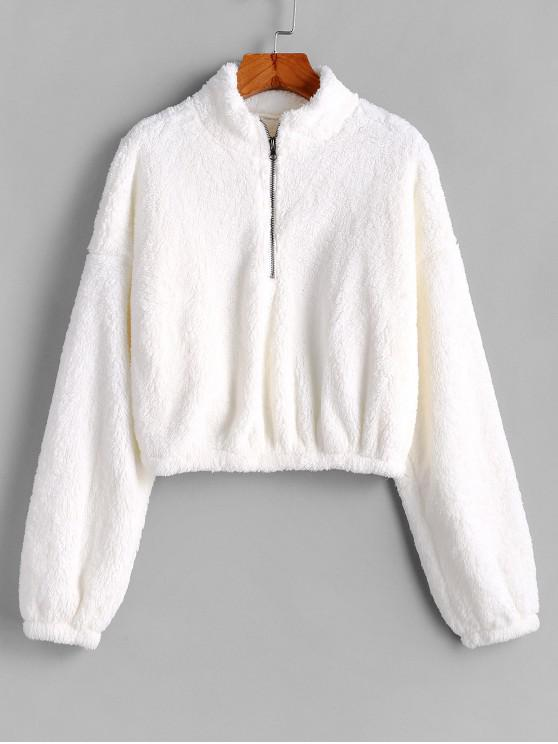 buy Half Zip Fluffy Plush Sweatshirt - WHITE L