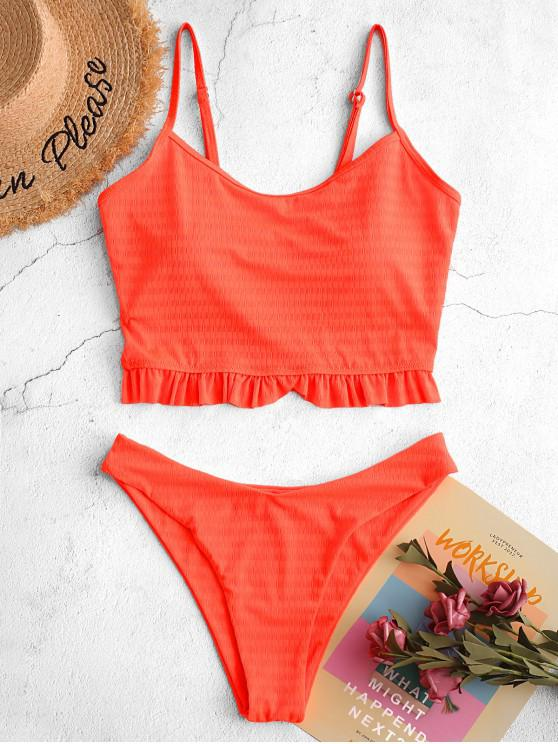 women's ZAFUL Neon Frilled Textured High Cut Tankini Swimsuit - ORANGE S