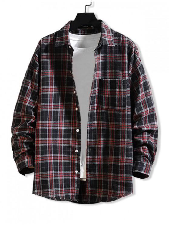 ladies Curved Hem Plaid Print Pocket Long Sleeve Button Shirt - RED WINE M