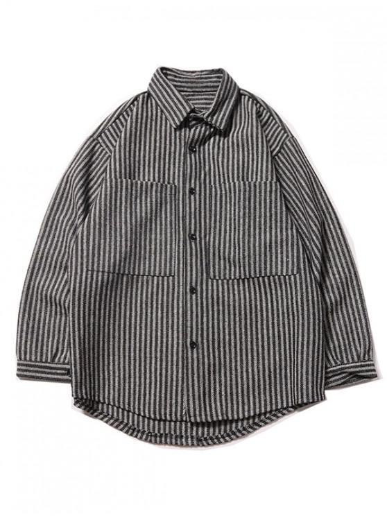 trendy Stripes Print Double Pockets Button Up Shirt - BLACK 2XL