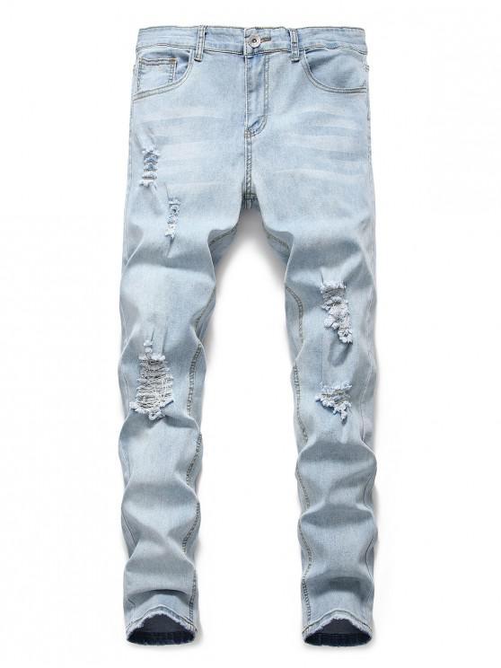 shops Light Wash Distressed Decoration Casual Jeans - JEANS BLUE L