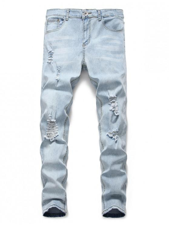 fashion Light Wash Distressed Decoration Casual Jeans - JEANS BLUE 3XL