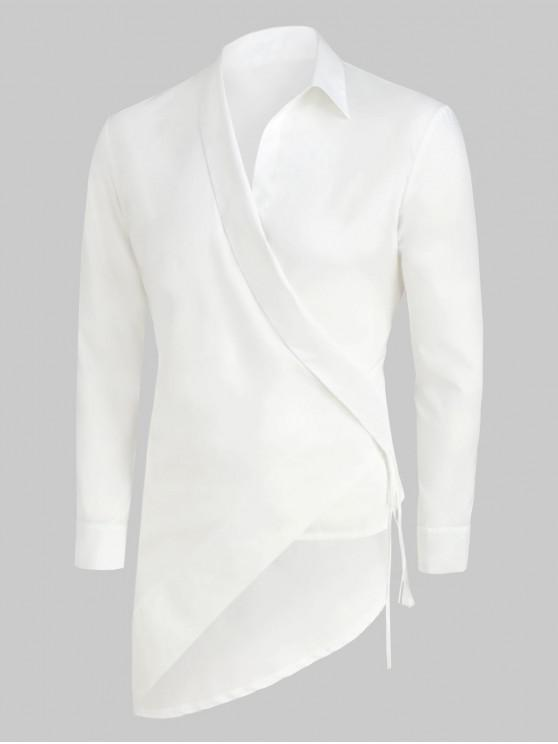 women's Solid Color Asymmetrical Long-sleeved Shirt - WHITE 2XL