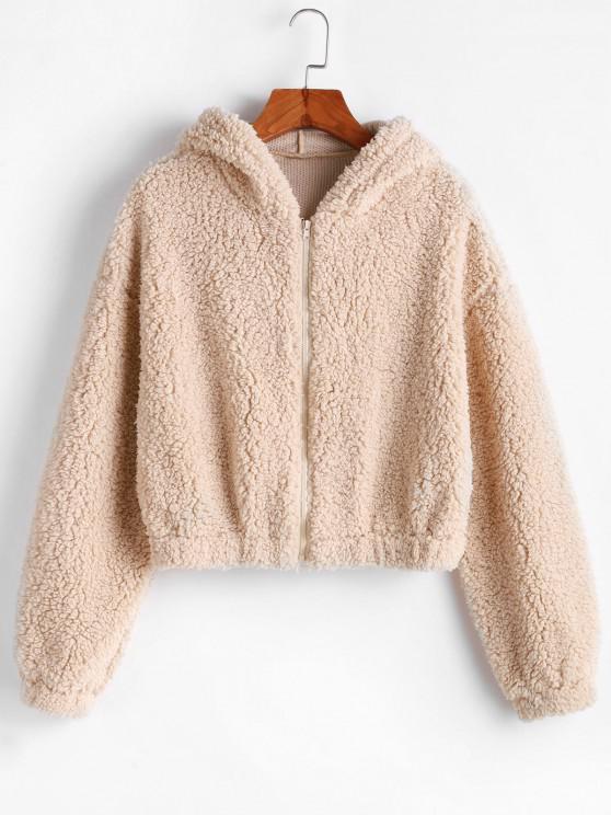 sale ZAFUL Hooded Zip Up Fluffy Teddy Jacket - LIGHT KHAKI M
