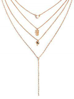 Pineapple Coconut Tree Multilayered Necklace - Gold