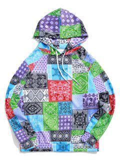 Bandana Tribal Print Casual Kangaroo Pocket Hoodie - Multi-a M