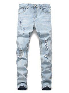 Light Wash Distressed Decoration Casual Jeans - Jeans Blue M