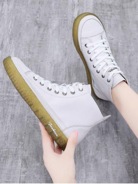 fancy Contrast Color PU Leather Ankle Boots - WHITE EU 40 Mobile