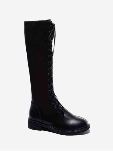 ladies Round Toe Lace Up Knee High Boots - BLACK EU 37 Mobile
