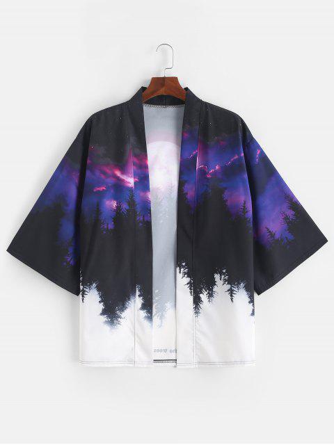 Cardigan Kimono Ouvert en Avant Forêt Arbre et Lune Imprimés - Iris Pourpre M Mobile