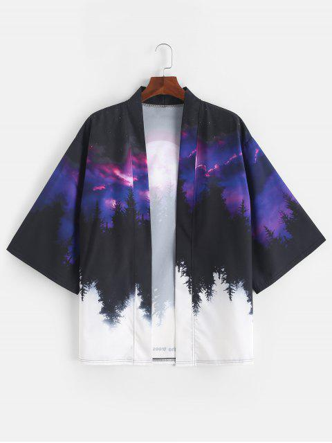 fashion Rising Moon Through Tree Forest Print Open Front Kimono Cardigan - PURPLE IRIS XL Mobile