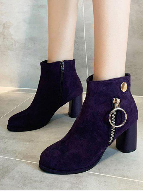 shop O-ring Zip Suede Chunky Heel Ankle Boots - PURPLE IRIS EU 38 Mobile