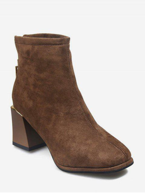 ladies Square-ring Chunky Heel Ankle Boots - BROWN EU 35 Mobile
