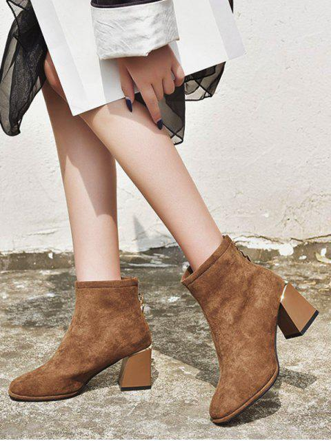 outfits Square-ring Chunky Heel Ankle Boots - BROWN EU 36 Mobile