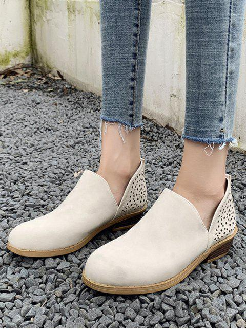 chic V Cut Hollow Out Ankle Boots - WARM WHITE EU 41 Mobile