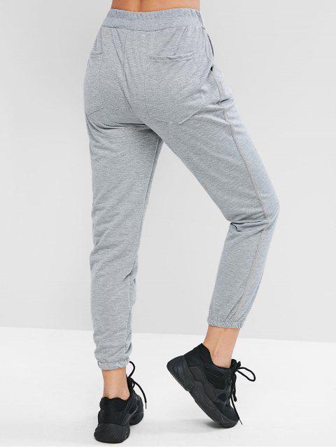 Pantalones de gimnasia de bolsillo de cintura media - Gris Oscuro L Mobile
