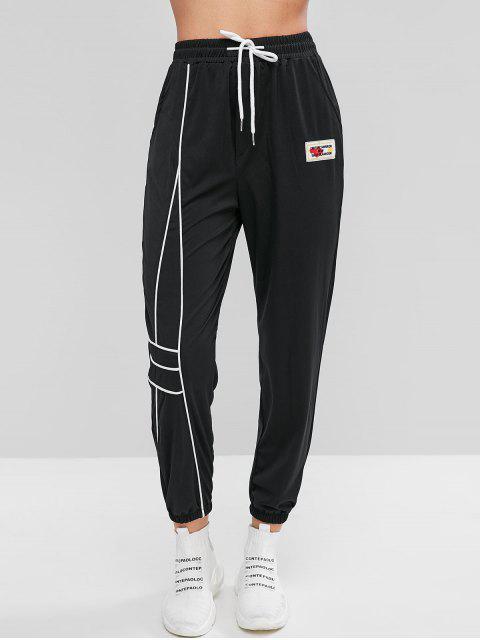 Pantalones jogger con parche y eslogan de bolsillos - Negro M Mobile