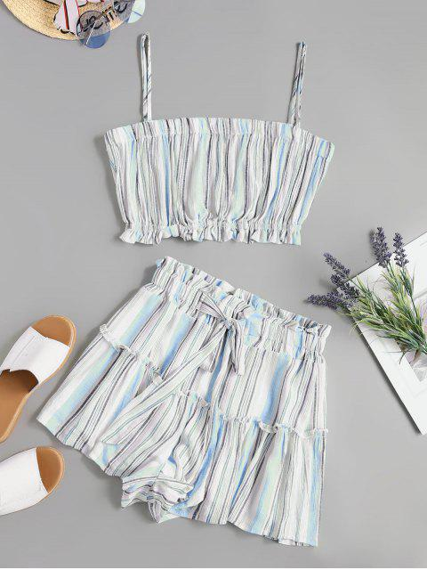 ladies Two Piece Knotted Stripes Paperbag Shorts Set - BLUE M Mobile