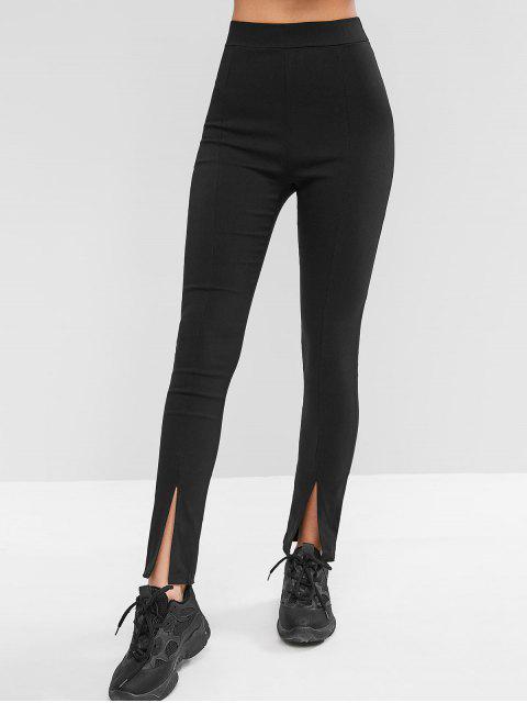 Pantalones pitillo elásticos de talle alto con aberturas en la cintura - Negro XL Mobile