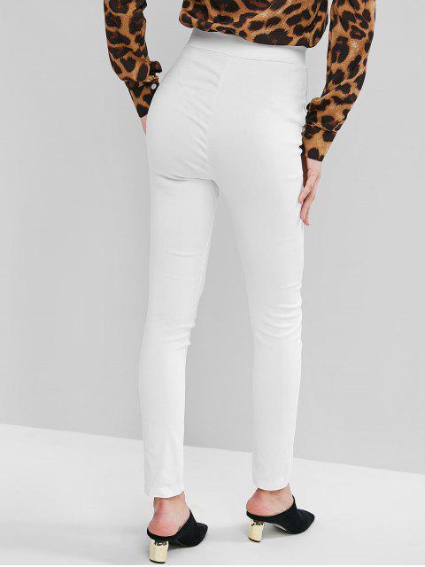Pantalones pitillo elásticos de talle alto con aberturas en la cintura - Blanco L Mobile