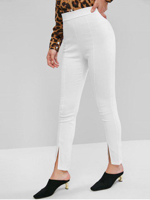 Pantalones pitillo elásticos de talle alto con aberturas en la cintura - Blanco XL Mobile