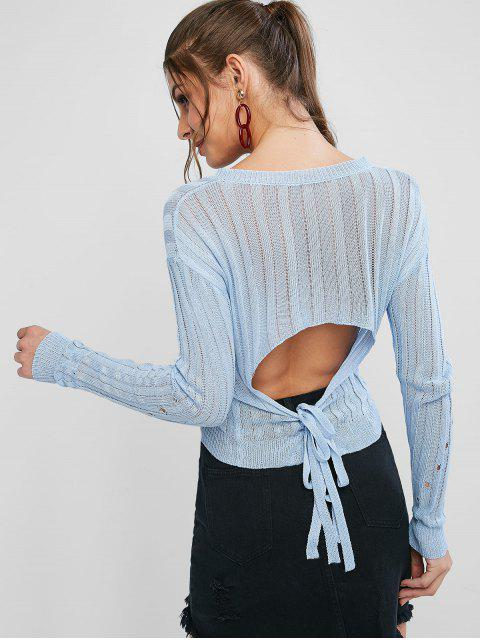 buy Openwork V Neck Drop Shoulder Cutout Sweater - BLUE GRAY ONE SIZE Mobile