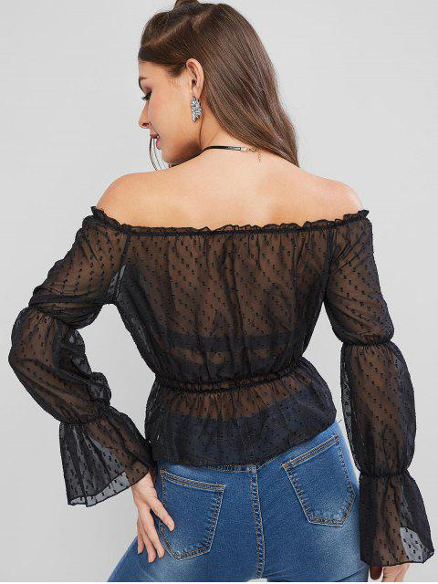 outfits Swiss Dot Off Shoulder Peplum Blouse - BLACK M Mobile