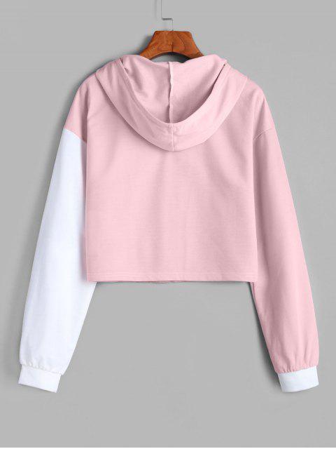 fashion ZAFUL Drawstring Drop Shoulder Contrast Cropped Hoodie - MULTI-B L Mobile