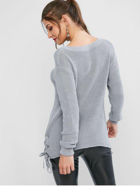 womens Grommet Lace Up Asymmetrical Textured Sweater - DARK GRAY L Mobile