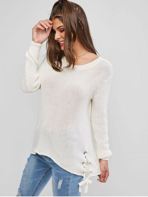 online Grommet Lace Up Asymmetrical Textured Sweater - WHITE M Mobile