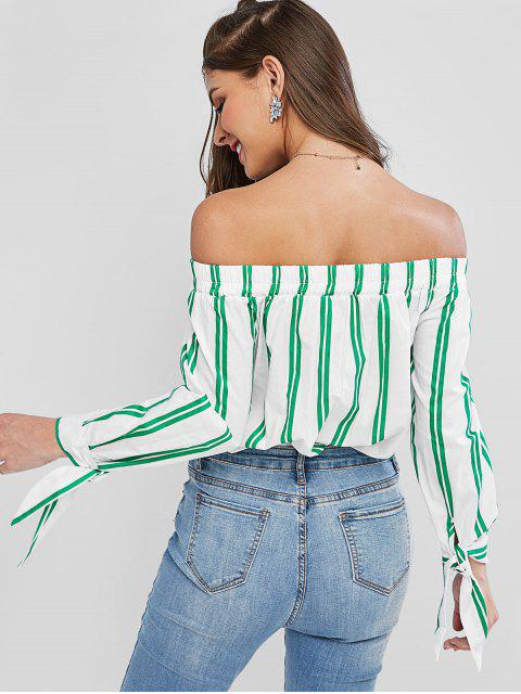 lady Off Shoulder Striped Tied Cuff Blouse - MULTI-A S Mobile