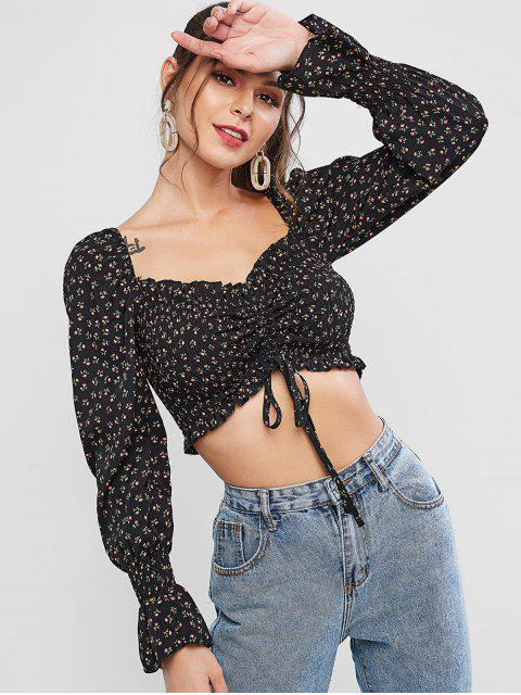 unique Ditsy Print Cinched Smocked Crop Blouse - BLACK S Mobile