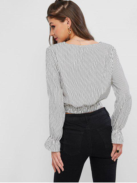 unique Striped Twisted Poet Sleeve Plunging Blouse - WHITE XL Mobile