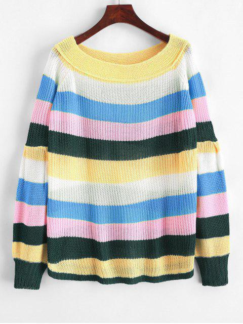 chic Off Shoulder Lantern Sleeves Striped Sweater - MULTI-B L Mobile